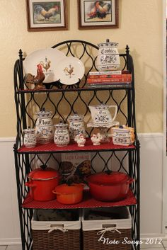 Decorating a Bakers Rack Bakers Rack Decorating, Decorating Blogs, Bakers Rack Kitchen, Kitchen Storage, Comfy Cozy Home, Car Furniture, Iron Furniture, French Country Kitchens, Room Accessories