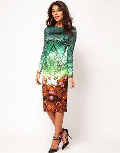 ASOS Premium Midi Pencil Dress in Forest Print  $175.90