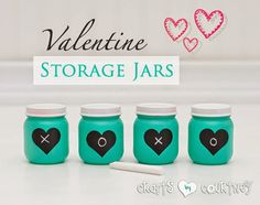 How to make adorable Valentine Day storage jars using baby food jars. I love this!