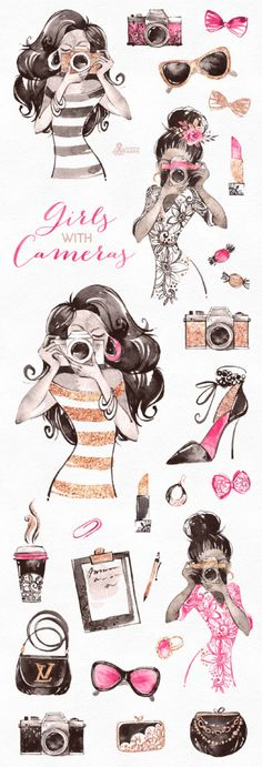 Girls With Cameras. Watercolor Clipart photographer logo