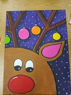 reindeer painting on canvas Rudolph the red nosed reindeer christmas canvas Items similar to reindeer painting on canvas Rudolph the red nosed reindeer on Etsy Christmas Paintings On Canvas, Cute Canvas Paintings, Easy Canvas Painting, Painting For Kids, Diy Painting, Art For Kids, Reindeer Drawing, Reindeer Craft, Red Nosed Reindeer