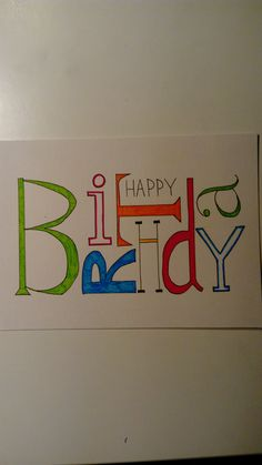 Handlettering Geburtstagskarte - Oriel D. - Handlettering Geburtstagskarte – Oriel D. 60th Birthday Cards, Handmade Birthday Cards, Diy Birthday, Calligraphy Cards, Persian Calligraphy, Karten Diy, Wedding Gift Wrapping, Quilling Cards, Diy Cards