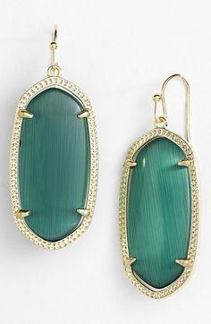 Kendra Scott 'Elle' Drop Earrings | Nordstrom Color: Emerald Cats Eye