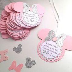 Minnie gracias etiquetas / plata y rosa / por GreatCrafternoon