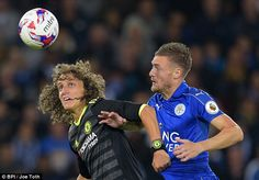 The Brazilian in action with Leicester's Jamie Vardy in the EFL Cup at the King Power Stadium