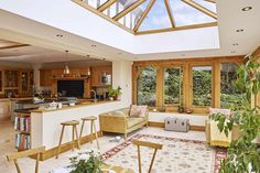 What a fantastic place to socialise with friends, an makes a great location for a framed kitchen/diner Orangery Extension Kitchen, Kitchen Orangery, Conservatory Extension, Cottage Extension, Kitchen Diner Extension, House Extension Design, House Design, Garage Extension, Extension Ideas