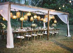 Wedding Greenery Decor with Hanging Lights — the bohemian wedding