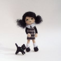 needle felted art doll with kitten tiny doll by Lybo on Etsy