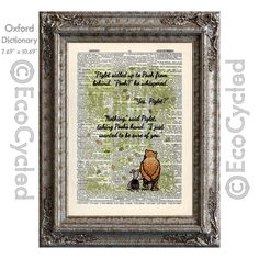 New to EcoCycled on Etsy: Winnie the Pooh and Piglet Quote 62 I Just Wanted to be Sure of You on Vintage Upcycled Dictionary Art Print Book Art Print Classic (10.00 USD)
