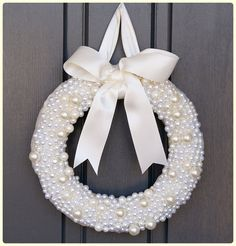 THE PREPPY PEARL Wreath in Ivory.  Love the monochromatic feel of this!  Perfect for weddings, baptisms, communions, showers, & birthdays!