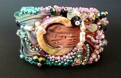 Bransoletka shibori z cekinami - Cristallin - Bransoletki z koralików