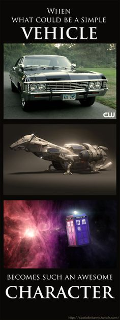 The Impala (Baby), Serenity (Best Ship in the Verse), and the TARDIS (Sexy). wow I didn't think you could get this much awesomeness in one post! Geek Out, Nerd Geek, Fandom Crossover, Firefly Serenity, Serenity Prayer, To Infinity And Beyond, Way Of Life, Superwholock, Tardis
