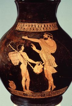 Man urinating in pitcher held by slave. Urine was collected to bleach wool.
