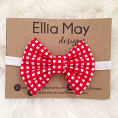 Baby/Girl Red Gingham Fabric Bow Headband or Hair Clip