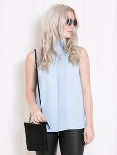 Laser Cut Sleeveless Turtleneck - Vince - shoplola.com