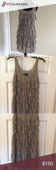 INC Gray Lace Dress INC gray lace ruffle dress.  Size M. No zipper. Pull dress over your head.  Figure flattering. Worn only a few times. From a pet free/smoke free home.  Gorgeous!  💜5 Star Rated Seller! 💜Same or Next Day Shipper (Excludes Weekends and Holidays)! INC International Concepts Dresses Midi
