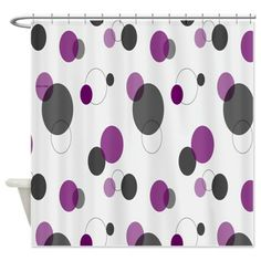 Black and Purple Polka Dots Shower Curtain