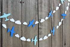 Airplane and clouds paper Garland - custom colors available - great for Disney…
