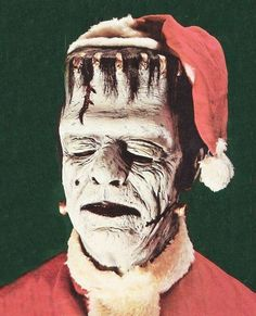 Merry Creepy Christmas from Frankenstein! there is a Universal Monster item in the December block! Dark Christmas, Halloween Christmas, Vintage Christmas, Merry Christmas, Christmas Humor, Christmas Time, Retro Halloween, Halloween Ornaments, Christmas Images