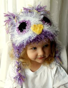 Fuzzy Purple Owl Hat- Girl Owl Hat- Warm Durable Winter Beanie with Earflaps- Purple Lavender, Yellow and White- Girl Photography Prop via Etsy