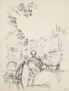 [Café Terrace I], circa 1958 - 1965, sheet 123 from Paris sans fin, Paris (1969) Lithograph on Arches woven paper, 42,5 x 32,5 cm Fondation Alberto et Annette Giacometti, Paris, inv. 1994-0839-123 © Alberto Giacometti