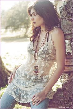 Bohemian Chic modern hippie fashion trend, lace top & layered necklaces. For MORE gypsy style boho ideas FOLLOW http://www.pinterest.com/happygolicky/the-best-boho-chic-fashion-bohemian-jewelry-gypsy-/