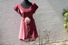 Trägerkleider - Kleid Unterrock Samt altrosa Spitze Boho Tunika - ein…