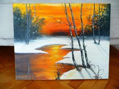 SNOW And SUNSET original painting 20X16 Inches by serdomania, $95.00