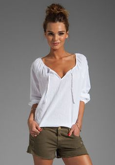 C California Textured Cotton 3/4 Sleeve Peasant Top With Lace Blouse