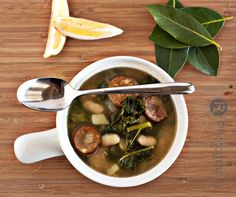 Turkey sausage, potato & kale soup