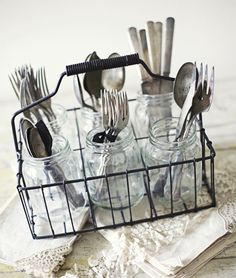 lots of mason jar ideas from funky junk interiors silverware