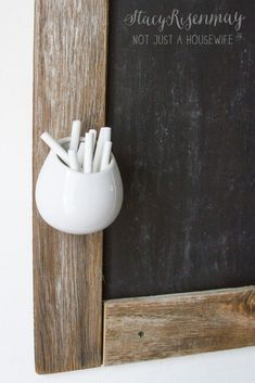 hanging planter used as chalk holder for chalkboard