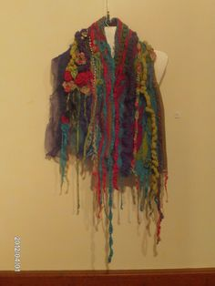 Crows Nest exhibition 2012. Gail Grunske, Diane Symes and Carol Oyston; Out of the Box in Crows Nest, rainbow hand woven shrug