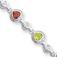 Sterling Silver Fancy Rainbow Heart CZ Bracelet - 7 Inch - Box Clasp - JewelryWeb JewelryWeb. $105.30