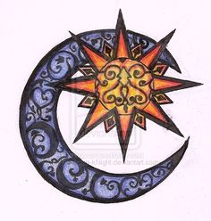 My actual tattoo that I have on my right shoulder (but without the design inside the sun). Forever dedicated to my mom. ---Galaxial Twins Sun and Moon by Obsidian-kNight