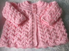 Hand knitted Baby Girl's Pink Shimmer Matinee cardigan  0-3 mths 'NEW'