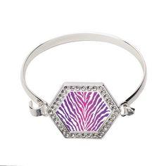 Pink Tiger Print Hexagon Bracelet  http://www.inspiredsilver.com/ #InspiredSilver #jewelry #Bracelet #Pink #Tiger