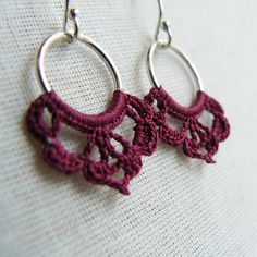 Dark Red Hoop Crochet Earrings, Circle Earrings, Lace Earrings, Hoop earrings, Sterling Silver, Wine Red Earrings These hoop earrings are small, beautifully delicate, and easy to wear. They are made with sterling silver and adorned with fine cotton lace that is crocheted by myself. The