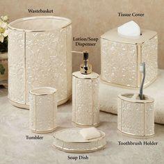 Bathroom: Furla Cream Damask Ceramic Bathroom Accessories With Gold Detail - Gold Bathroom Accessories You Can Choose Purple Bathrooms, Beige Bathroom, Bathroom Sets, Small Bathroom, Bathroom Interior, Bathroom Closet, Washroom, Furla, Gold Bathroom Accessories