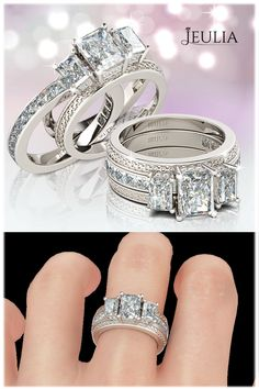 3pc three stone emerald cut created white sapphire rhodium plated 925 sterling silver womens ring bridal ring setsbridal - White Sapphire Wedding Ring Sets