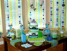 Boy Baby Shower Ideas - I don't like the mustaches but she wants blue and green, so I like that part!