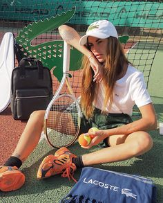 Lacoste, Spice Girls Wannabe, Clara Berry, Grunge Hippie, Youth Club, Urban Street Style, Tennis Racket, Athleisure, Photoshoot