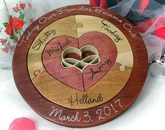 Unity Ceremony Puzzle Alternative Unity Puzzle Ceremony Blended Family Puzzle Custom Designed Personalized Wedding Gift Gifts for The Couple