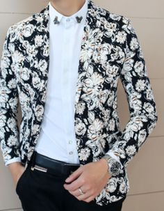 Classic Floral Black Light Beige Creative Design Blazer | www.pilaeo.com #men's #luxury #fashion