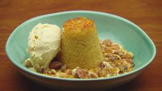 Cardamom and Cornflake Ice-Cream with Orange Cake and Cornflake and Nut Crumble - Network Ten Vegetarian Breakfast, Breakfast Recipes, Dariole Moulds, Masterchef Recipes, Masterchef Australia, Mixed Nuts, Ice Cream Recipes, Recipe Collection, Tray Bakes