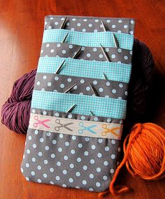 brilliant idea! CD case used for circular needles from One Yard Wonders book.