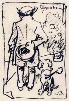 Caricature of Arthur Schopenhauer by Wilhelm Busch