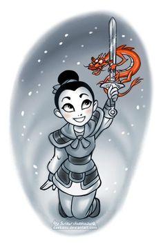Winter - Mulan and Mushu.