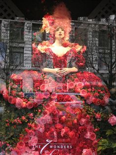 Dress made of flowers in the window at Macy's by SerenityF, via Flickr