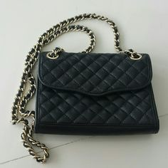 Minkoff Mini Quilted Affair M.A.C. Mini Mac crossbody bag - black with gold hardware.  Great condition!  No flaws.  Comes with original dust bag.  No trades no PayPal.  Offers welcome through the offer button :-) Rebecca Minkoff Bags Crossbody Bags